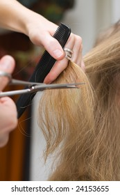 Blonde woman at the hair saloon