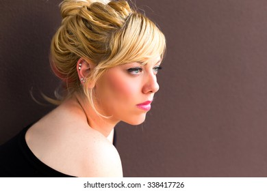 Blonde woman in the living room