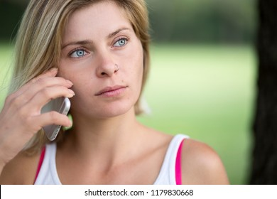 Blonde woman making phonecall
