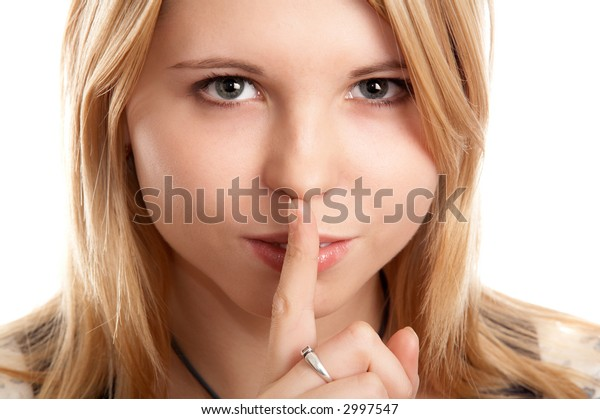 Blonde woman on white background with silence sign