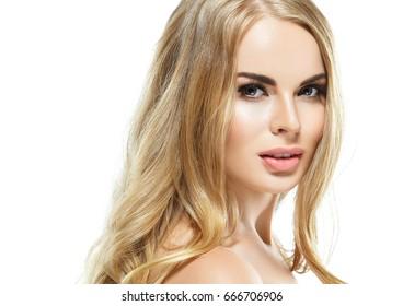 Blonde woman portrait. Blonde model girl beauty concept.