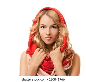 Blonde Woman in Red Hood. Isolated on White.