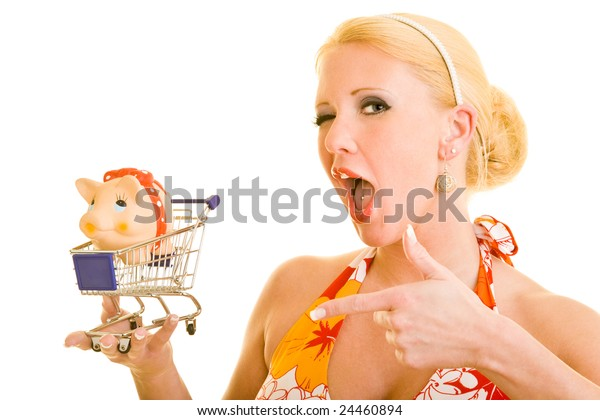 Blonde woman with shopping cart