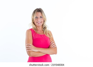 Blonde woman smiling on white background