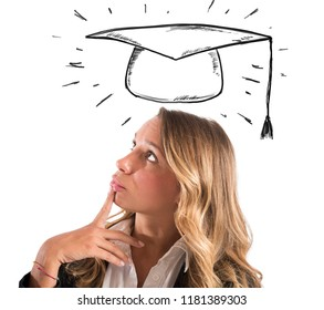 Blonde woman student thinks about her graduation