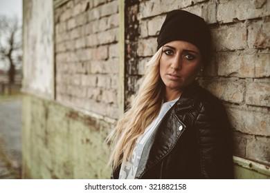 Blonde woman urban fashion portrait