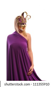 Blonde woman in violet carnival mask, isolated on white