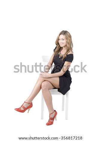 Blonde Women Sit On White Chair Stock Photo (Edit Now) 356817218 ... 9b6bb8c2a3