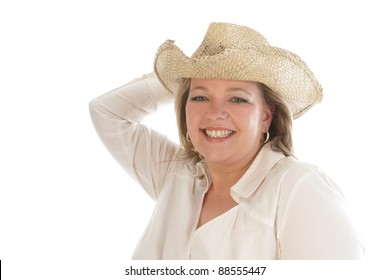 Woman Cowboy Hat Woman Cowgirl Isolated Stock Photo (Edit Now ... 05490132435b