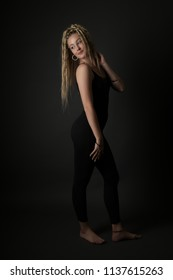 Blonde young woman dancing dancehall