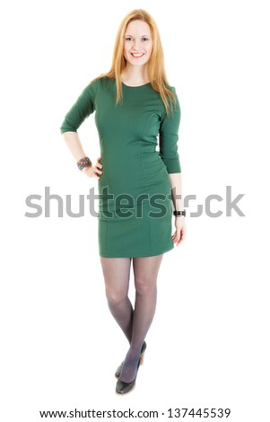 Blonde Young Woman Wearing Green Dress Stock Photo Edit Now
