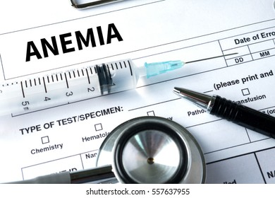 blood for Anemia test , Medical Concept: Anemia  , Diagnosis Iron deficiency