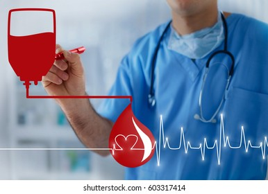 Blood bag, blood drop and heart pulse, transfusion concept with doctor in the background