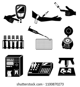 Blood cell count or biochemical blood test and medical equipment silhouettes. Black and white icons set isolated on white background
