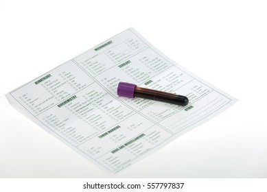 Blood collection tube and lab requisition form for laboratory on white