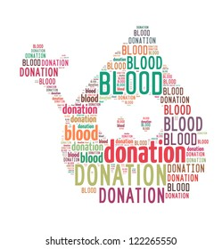 Blood Donation word clouds in blood drop icon shape isolated in white background