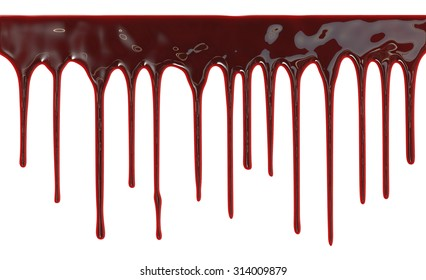 Blood dripping down over white background