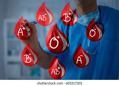 Blood drops with different blood types, doctor holds a marker in the background