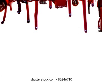 Blood flows from the top. Isolated on white background