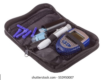 The blood glucose meter in bag isolated on white background