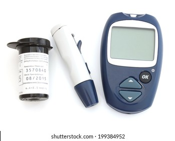 Blood Glucose Meter, device for puncturing skin and box of test strips