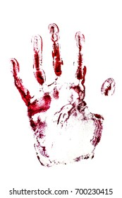 Blood handprint isolated on white. Red handprint isolated