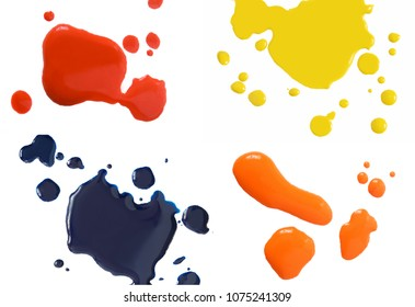 blood, ink and paint drops isolated on white background set