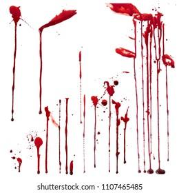 Blood leaks set on white background