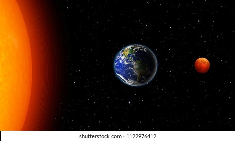 "Blood moon of Total Lunar Eclipse with earth ""Elements of this image furnished by NASA """