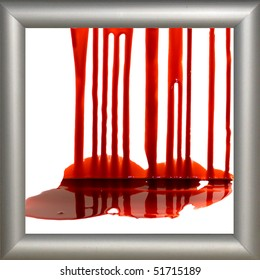 Blood on the white background in the frame