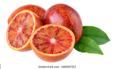 Blood orange slice with leaf isolated on a white background