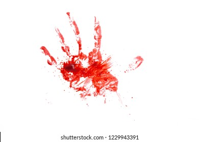 blood or paint hand isolated on white background,graphic resources,halloween concept