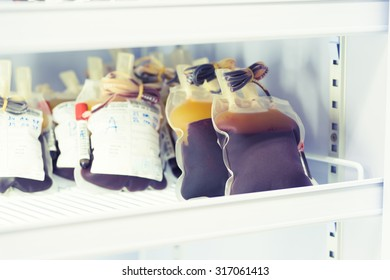 blood pouch in refrigerator at blood bank at laboratory hospital