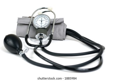 Blood pressure cuff isolated on white.