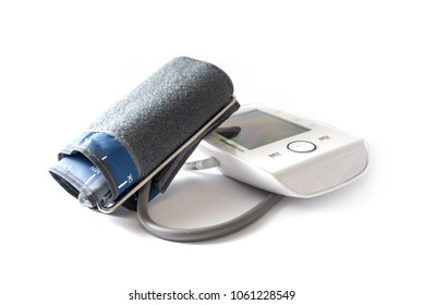 Blood pressure gauge with cuff and blank digital monitor to indicate hypertension and pulse, isolated on a white background, health and medicine equipment, selected focus, narrow depth of field