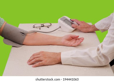 Blood pressure measuring on green background