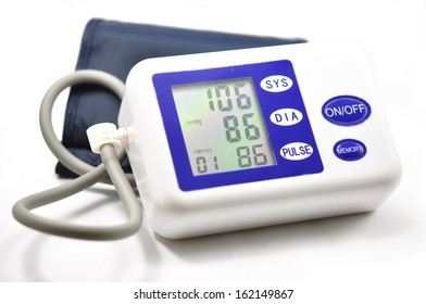 Blood pressure monitor isolated on white.