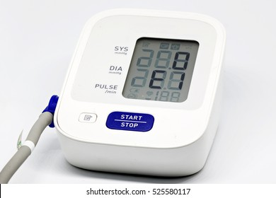 Blood pressure monitor on white background
