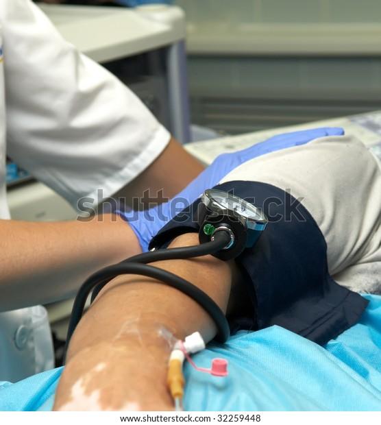 Blood Pressure Sensor Catheter Inserted Body Stock Photo