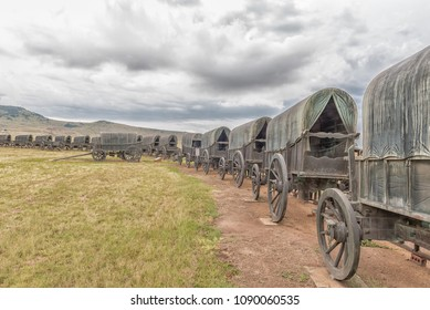 BLOOD RIVER, SOUTH AFRICA - MARCH 21, 2018: The bronze replica laager of ox-wagons at Blood River, an historic battle site between Voortrekker and Zulu warriors
