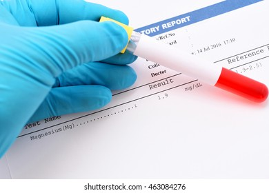 Blood sample with magnesium testing result