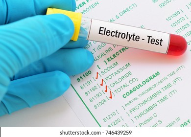 Blood sample with requisition form for electrolyte test