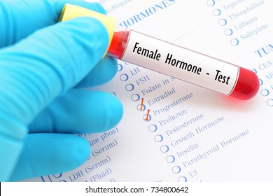 Blood sample with requisition form for female hormone test
