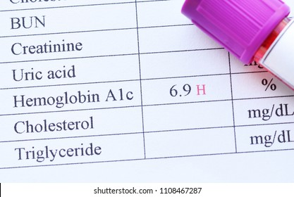 Blood sample tube with abnormal high hemoglobin A1c test result