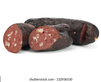 Blood sausage on a white background.