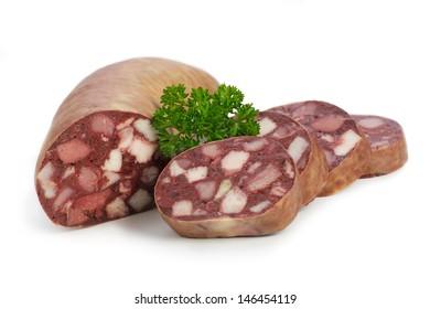 Blood sausage with parsley on white underground