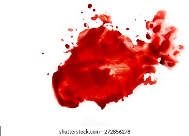 Blood smear droplets (stains, splatter) islated on white background close up