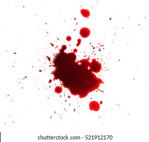 Blood splashed isolated on white background