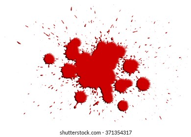 Blood splashes on white background
