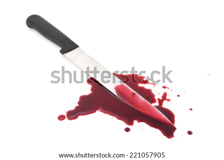 Blood splatter with kitchen knife